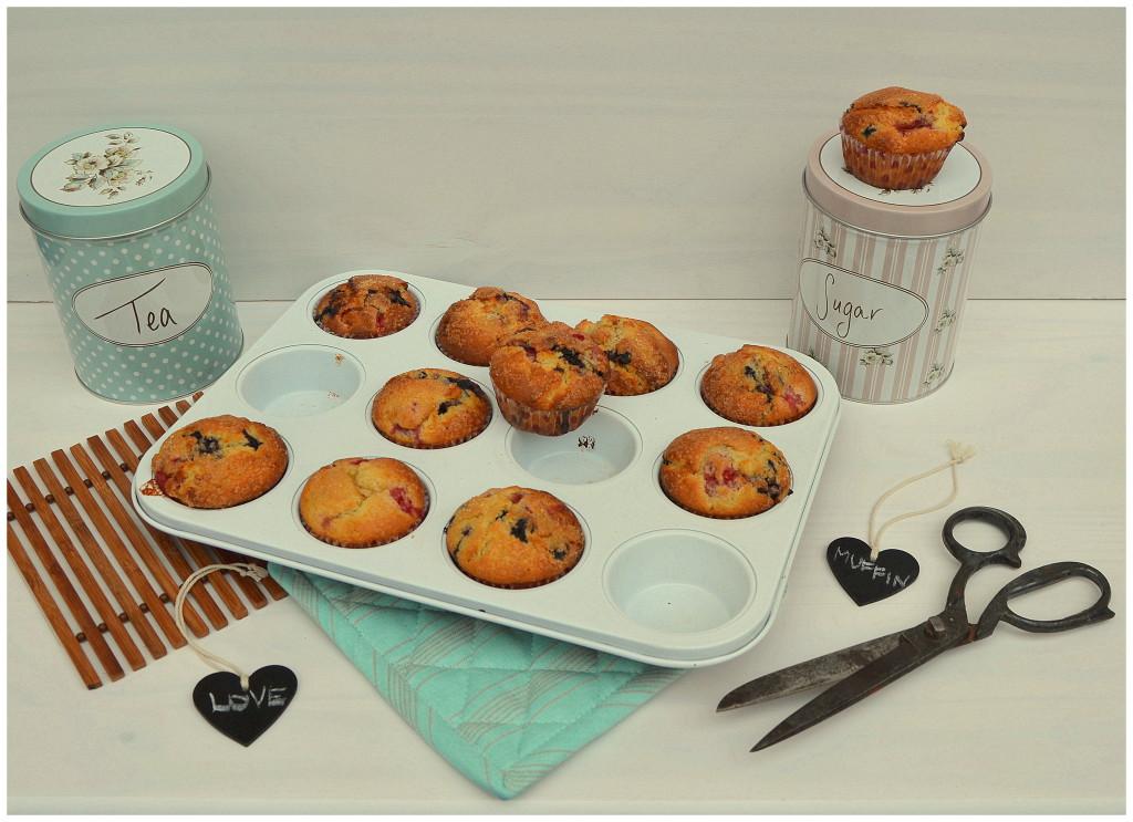 Malinovo-borůvkové muffiny